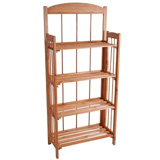 Lavish Home 4-shelf Light Wood Bookcase