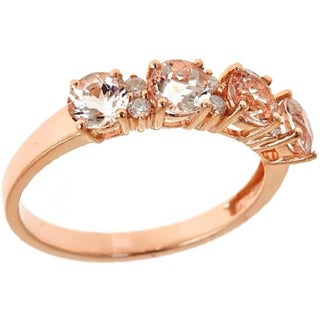 Anika and August 14k Rose Gold Round-cut Morganite 1/10ct TDW White Diamond Ring (G-H, I1-I2)