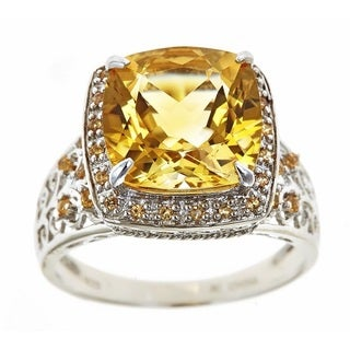 D'yach Sterling Silver Citrine and Orange Sapphire Fashion Ring
