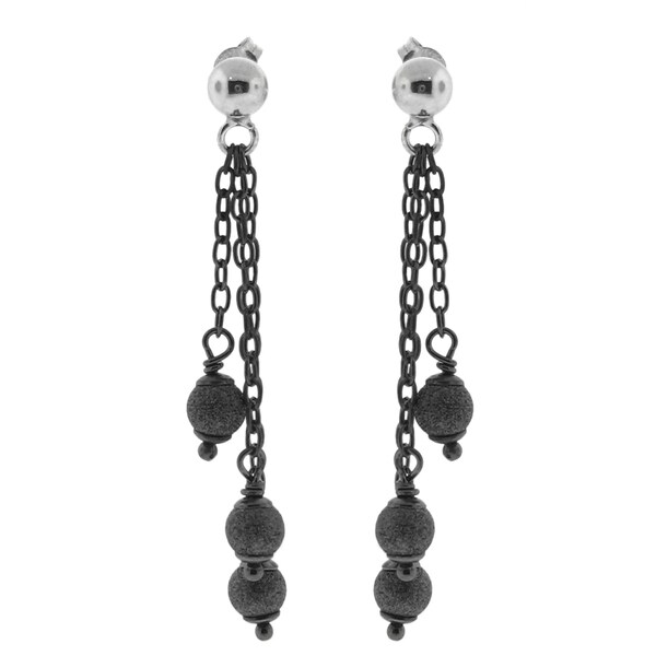 Gioelli Sterling Silver Chain Gun Metal Bead Dangle Earrings
