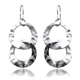 Gioelli Sterling Silver Satin Hammered Finish Circle Links Dangle Earrings
