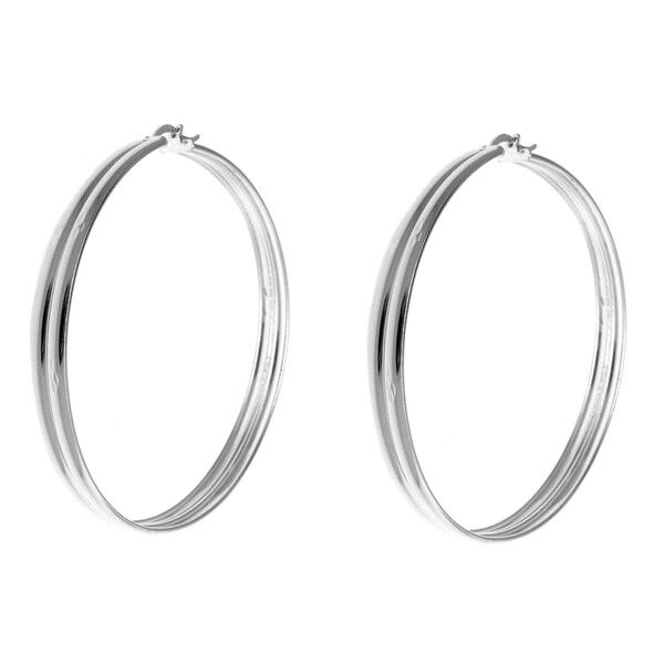 Gioelli Sterling Silver Double-edged Hoop Earrings