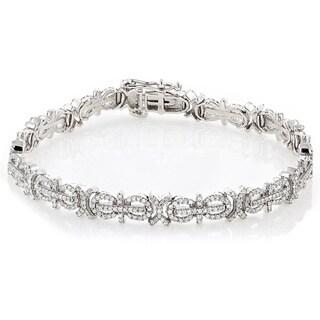 Luxurman 14k White Gold 2 1/4ct TDW Pave Diamond Bracelet (H-I, SI1-SI2)