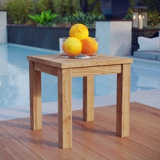 Pier Outdoor Patio Natural Teak Wood Small Side Table