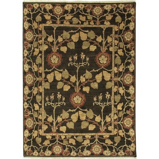 Hand Knotted Floral Pattern Brown/ Gold Wool Area Rug (6' x 9')