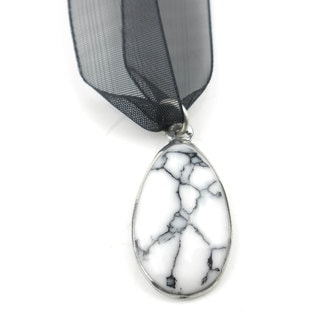 Howlite Pendant on Organza Necklace (Mexico)