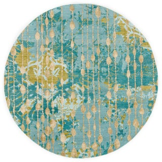 Abstract Pattern Blue/ Green Wool/ Viscose Area Rug (8' x 8')