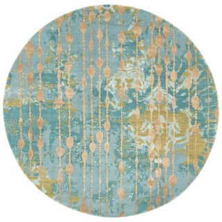 Abstract Pattern Blue/ Green Wool/ Viscose Area Rug (6' x 6')