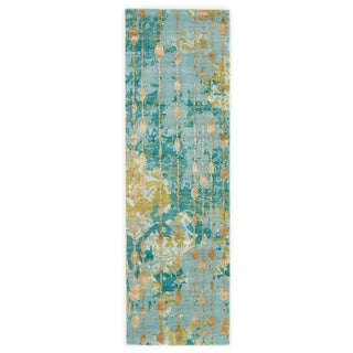 Abstract Pattern Blue/ Green Wool/ Viscose Area Rug (2'6 x 8')
