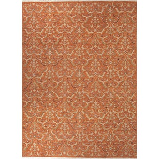 Hand Knotted Southwestern/Tribal Pattern Orange Wool Area Rug (6'x9')