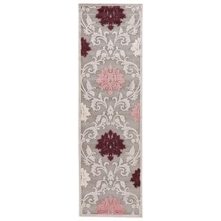 Floral Pattern Grey/ Purple Art Silk/ Chenille Area Rug (2'6 x 8')