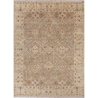 Hand Knotted Oriental Pattern Grey Wool Area Rug (6'x9')