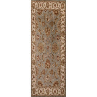 Hand Tufted Oriental Pattern Blue/ Ivory Wool Area Rug (2'6 x 6')