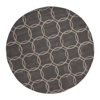 Hand Tufted Geometric Pattern Grey/ Ivory Wool Area Rug (6' x 6')