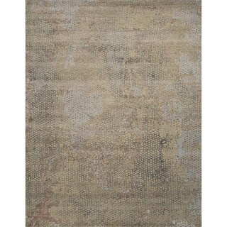 Hand Knotted Abstract Pattern Grey Wool/ Art Silk Area Rug (5'6 x 8')
