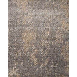 Hand Knotted Abstract Pattern Grey Wool/ Art Silk Area Rug (9' x 12')