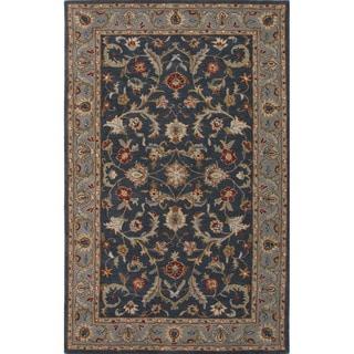 Hand Tufted Oriental Pattern Blue Wool Area Rug (5' x 8')