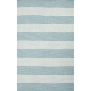 Flat Weave Stripe Pattern Blue Wool Area Rug (8' x 10')