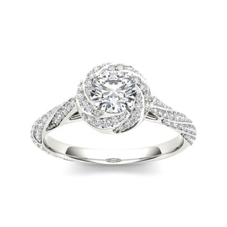De Couer 14k White Gold 1ct TDW Twist Diamond Ring (H-I, I1-I2)