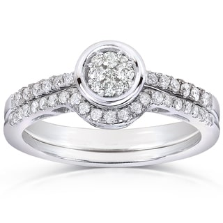 Annello 10k White Gold 3/8ct TDW Round-cut Diamond Bridal Rings Set (H-I, I1-I2)