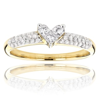 14k Yellow Gold 1/2ct TDW Diamond Heart Ring (H-I, SI1-SI2)