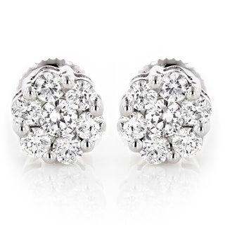 Luxurman 14k White Gold 1/2ct TDW Diamond Cluster Stud Earrings (G-H, VS1-VS2)