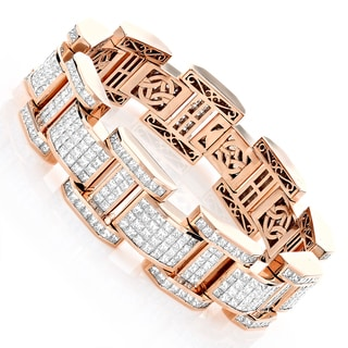 18k Rose Gold Men's 39 3/4ct TDW Diamond Bracelet (F-G, VS1-VS2)