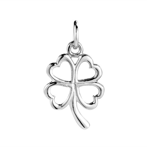 Lucky Clover Heart Leaf Sterling Silver Pendant Charm (Thailand)