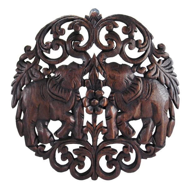 Circular Double Thai Elephant Hand Carved Wood Wall Art