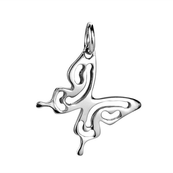 Charming Butterfly Outline Sterling Silver Pendant or Charm (Thailand)