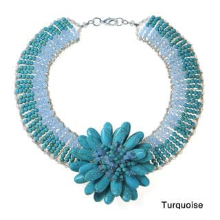 Exotic Lotus Stone Flower Blossom Statement Necklace (Thailand)