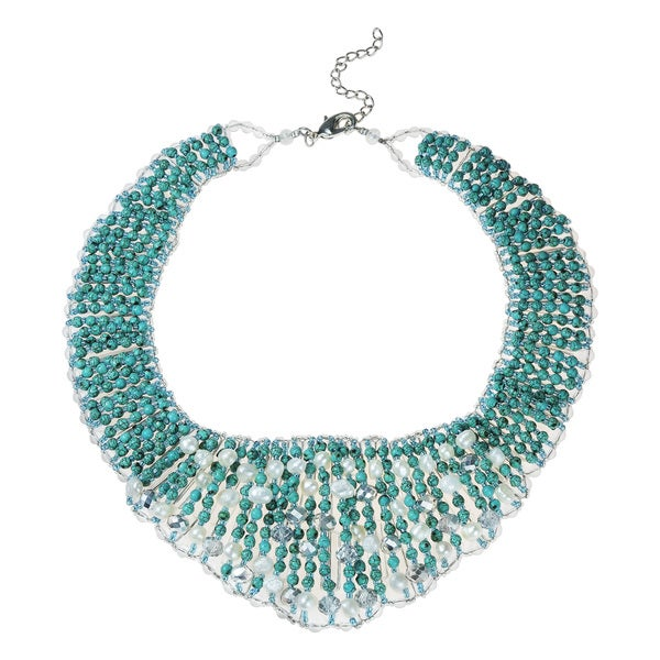 Breathtaking Turquoise Pearl Crystal Collar Necklace (Thailand)