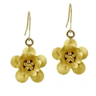 Floral Allure 22k Gold over Solid .925 Silver Earrings (Thailand)