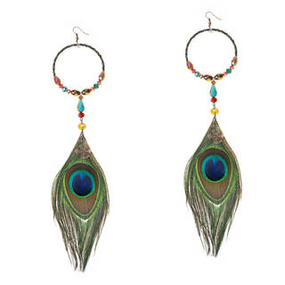 Modern Circle Dramatic Peacock Feather Crystal Earrings (Thailand)