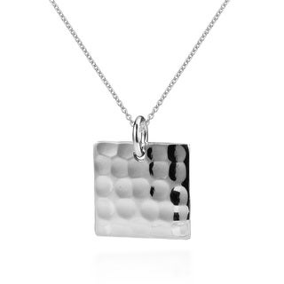 Chic Hammered Texture Square .925 Sterling Silver Necklace (Thailand)