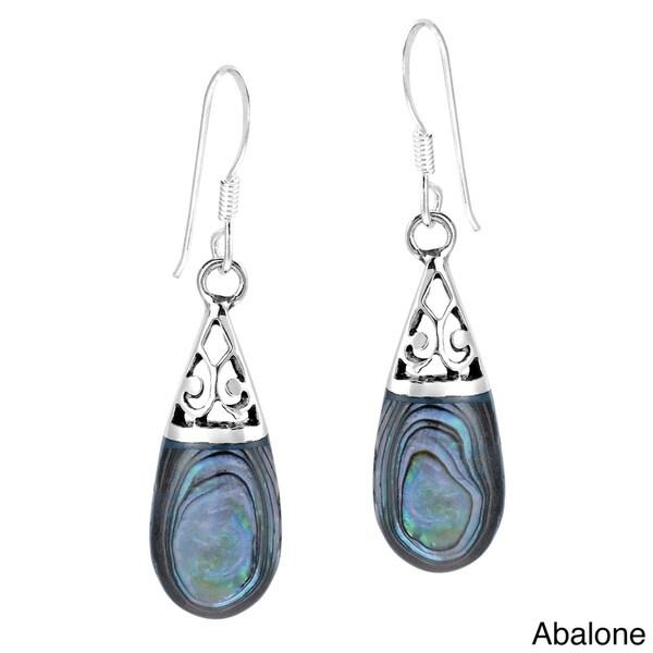 Filigree Swirl Teardrop Stone .925 Silver Dangle Earrings (Thailand)