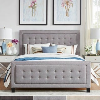 INSPIRE Q Bellevista Dark Grey Linen Button-tufted Square Upholstered Bed