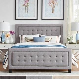 INSPIRE Q Bellevista Dark Grey Linen Button-tufted Square Upholstered Bed