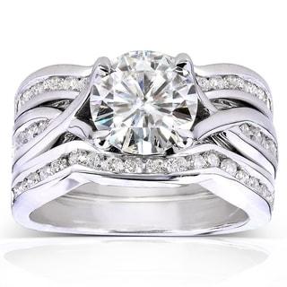 Annello 14k White Gold Moissanite and 3/4ct TDW Channel Diamond 3-piece Bridal Rings Set (H-I, I1-I2 with Bonus Item