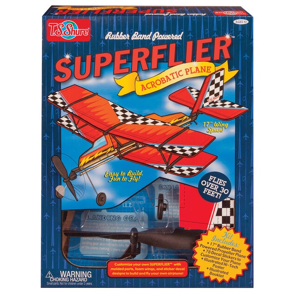 Rubber Band Powered Super Flier Acrobatic Plane Kit