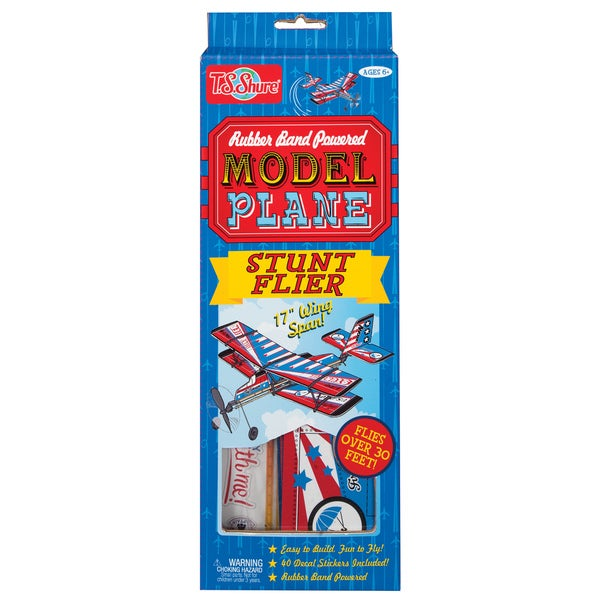 Rubber Band Powered Stunt Flier Model Plane Kit