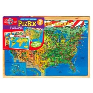 U.S. and World Map Jumbo Puzzle in a Wood Box Set