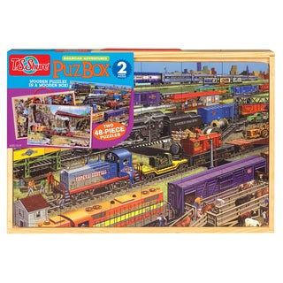 Trains Jumbo Wooden Puzzle in a Wood Box Set