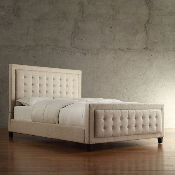 INSPIRE Q Bellevista Beige Linen Button-tufted Square Upholstered King Bed