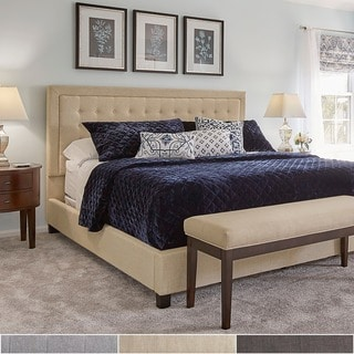 INSPIRE Q Bellevista Dark Grey Linen Button-tufted Square Upholstered King Bed