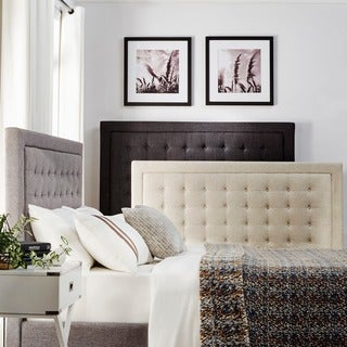 INSPIRE Q Bellevista Dark Grey Linen Button-tufted Square Low-profile King Bed