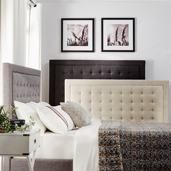 INSPIRE Q Bellevista Dark Grey Linen Button-tufted Square Low-profile King Platform Bed