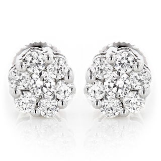 Luxurman 14k White Gold 1/4ct TDW Small Diamond Cluster Earrings (H-I, SI1-SI2)