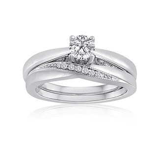 Platinaire Sterling Silver 1/2ct TDW Diamond Solitaire Bridal Ring Set (H-I, I2-I3)