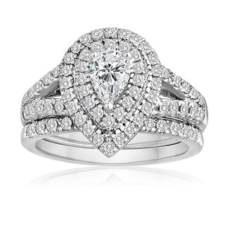 14k White Gold 1 1/2ct TDW Pear-cut Diamond Bridal Ring Set (H-I, I1-I2)